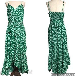 Eliza J. Frilly Floral High-Lo Wrap Maxi D…